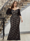 Elegant Floor Length V-Neck Chiffon And Lace Evening Dress-Black 3