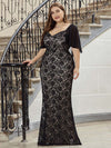 Elegant Floor Length V-Neck Chiffon And Lace Evening Dress-Black 4