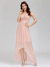 Elegant Floor Length One-Shoulder Chiffon Bridesmaid Dress For Women-Pink 9