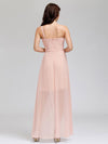 Elegant Floor Length One-Shoulder Chiffon Bridesmaid Dress For Women-Pink 7