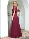 Fashion A-Line Wholesale Tulle Evening Dress With Sequin-Burgundy 2