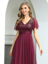 Fashion A-Line Wholesale Tulle Evening Dress With Sequin-Burgundy 5