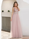 Women'S Sweet Double V Neck Embroidered Wholesale Tulle Bridesmaid Dress-Pink 3
