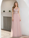 Women'S Sweet Double V Neck Embroidered Wholesale Tulle Bridesmaid Dress-Pink 4