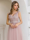 Women'S Sweet Double V Neck Embroidered Wholesale Tulle Bridesmaid Dress-Pink 5