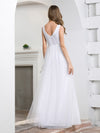 Elegant A-Line Sleeveless Tulle Wedding Dresses For Women-White 2