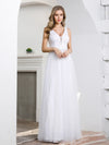 Elegant A-Line Sleeveless Tulle Wedding Dresses For Women-White 3