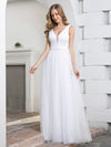 Elegant A-Line Sleeveless Tulle Wedding Dresses For Women-White 4