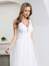 Elegant A-Line Sleeveless Tulle Wedding Dresses For Women-White 5