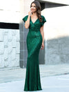 Double V Neck Cap Sleeves Fishtail Floor Length Evening Dresses-Dark Green 3