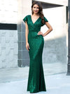 Double V Neck Cap Sleeves Fishtail Floor Length Evening Dresses-Dark Green 4