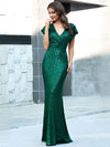Double V Neck Cap Sleeves Fishtail Floor Length Evening Dresses-Dark Green 1