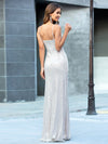 Shiny Spaghetti Straps High Split Sequin Evening Dress Ep00609-Rose Gold 2