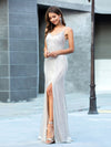 Shiny Spaghetti Straps High Split Sequin Evening Dress Ep00609-Rose Gold 3