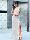 Shiny Spaghetti Straps High Split Sequin Evening Dress Ep00609-Rose Gold 1