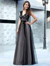 Unique Doublue V Neck Tulle Evening Gowns With Lace-Black 3