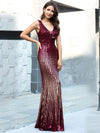 Sparkly V Neck Floor Length Sequin Prom Dresses-Burgundy 4