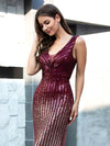 Sparkly V Neck Floor Length Sequin Prom Dresses-Burgundy 5