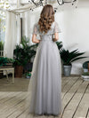 V-Neck Ruffles Sequin Dress Wholesale Floor Length Prom Dresses-Grey 2