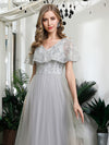 V-Neck Ruffles Sequin Dress Wholesale Floor Length Prom Dresses-Grey 5
