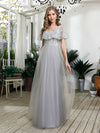 V-Neck Ruffles Sequin Dress Wholesale Floor Length Prom Dresses-Grey 1