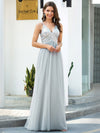 V-Neck Spaghetti Straps Sequin & Tulle Bridesmaid Dress-Grey 4