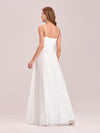 Floral Embroidered V Neck A-Line Tulle Bridesmaid Dresses With Lace-Cream 2