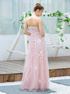 Floral Embroidered V Neck A-Line Tulle Bridesmaid Dresses With Lace-Pink 2