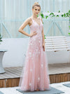 Floral Embroidered V Neck A-Line Tulle Bridesmaid Dresses With Lace-Pink 3
