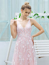 Floral Embroidered V Neck A-Line Tulle Bridesmaid Dresses With Lace-Pink 5