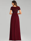 Round Neck Short Sleeve Chiffon & Sequin Evening Dresses With Belt-Burgundy 2
