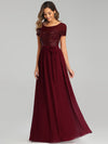 Round Neck Short Sleeve Chiffon & Sequin Evening Dresses With Belt-Burgundy 3