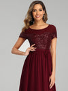 Round Neck Short Sleeve Chiffon & Sequin Evening Dresses With Belt-Burgundy 5