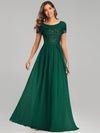 Round Neck Short Sleeve Chiffon & Sequin Evening Dresses With Belt-Dark Green 4