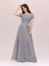 Round Neck Short Sleeve Chiffon & Sequin Evening Dresses With Belt-Grey 4