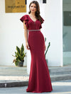 Elegant V-Neck Flutter Sleeves Wholesale Mermaid Evening Dress-Burgundy 3