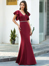 Elegant V-Neck Flutter Sleeves Wholesale Mermaid Evening Dress-Burgundy 4