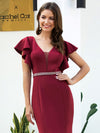 Elegant V-Neck Flutter Sleeves Wholesale Mermaid Evening Dress-Burgundy 5