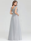 Women'S Fashion Double V-Neck Evening Dresses Ep00702-Grey 2