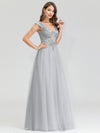 Women'S Fashion Double V-Neck Evening Dresses Ep00702-Grey 3