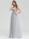 Women'S Fashion Double V-Neck Evening Dresses Ep00702-Grey 4