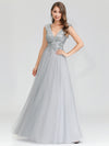 Women'S Fashion Double V-Neck Evening Dresses Ep00702-Grey 1