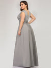 Plus Size Women'S Fashion Double V-Neck Bridesmaid Dresses Ep00706-Grey 2