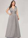 Plus Size Women'S Fashion Double V-Neck Bridesmaid Dresses Ep00706-Grey 3