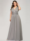 Plus Size Women'S Fashion Double V-Neck Bridesmaid Dresses Ep00706-Grey 4