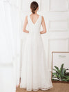 Women'S Double V-Neck Floral Lace Wedding Party Evening Dress Ep00714-White 2