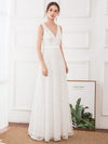 Women'S Double V-Neck Floral Lace Wedding Party Evening Dress Ep00714-White 4