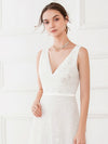 Women'S Double V-Neck Floral Lace Wedding Party Evening Dress Ep00714-White 5