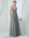 Women'S Double V-Neck Floral Appliques Evening Dress Ep00718-Grey 1