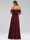 Women'S Off Shoulder Glitter Dress Evening Maxi Dresses Ep00724-Burgundy 3